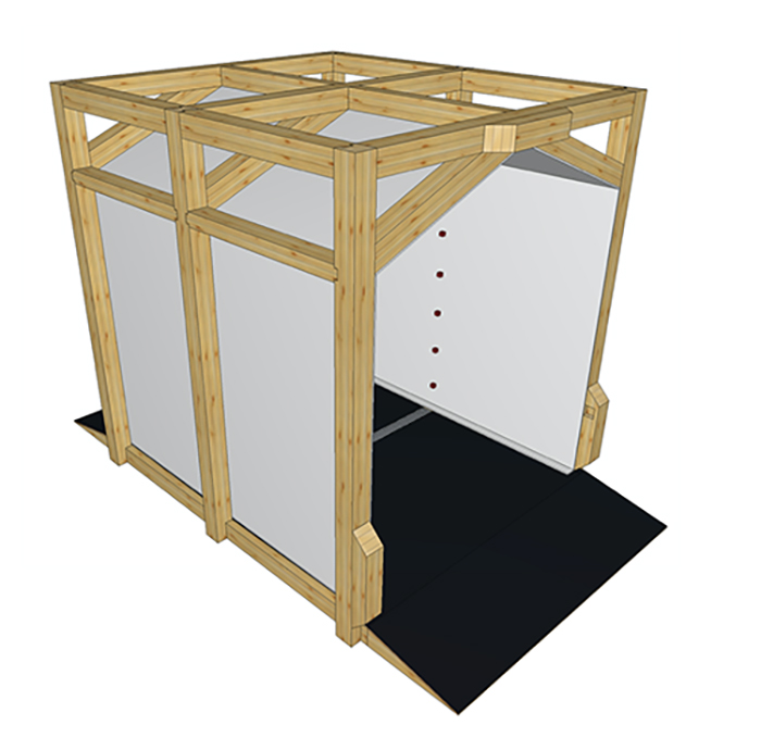 prototipo tunnel igienizzante in legno